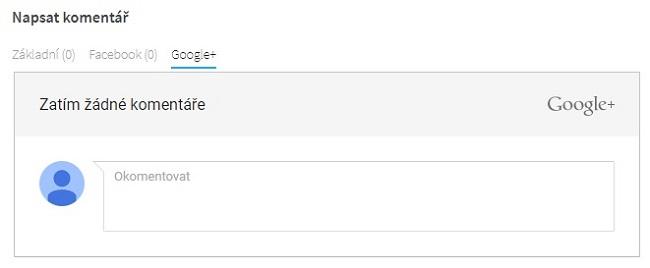 Vkládání komentáře pomocí účtu na Google+